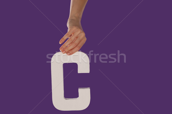 Female hand holding up the letter C from top Stock photo © stryjek