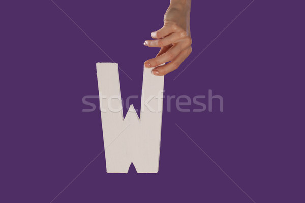 Female hand holding up the letter W from top Stock photo © stryjek