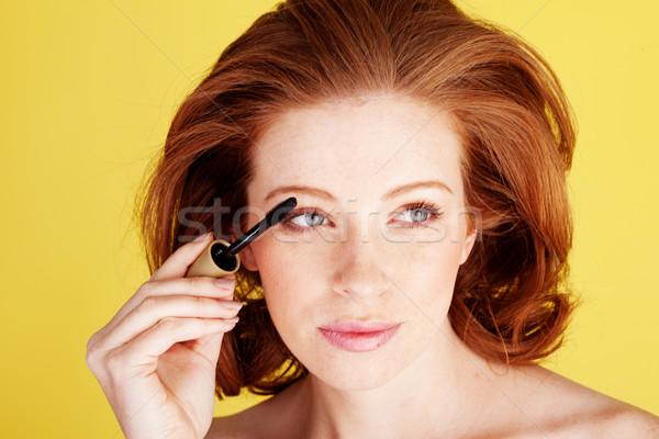 グラマラス 赤毛 適用 マスカラ 女性 ブラシ ストックフォト © stryjek