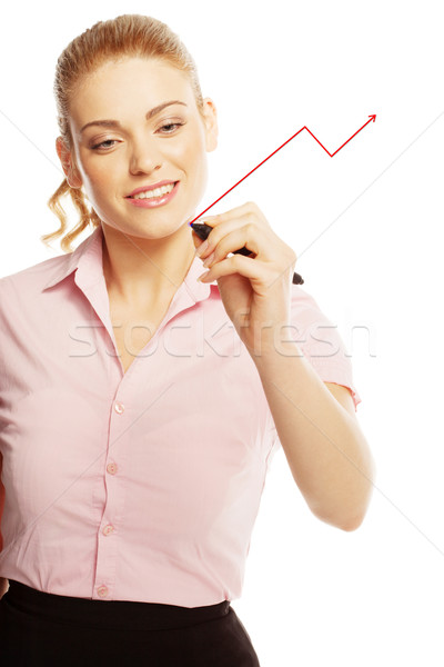 Vrouw tekening virtueel scherm aantrekkelijk jonge vrouw Stockfoto © stryjek