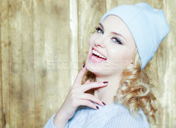 Gorgeous smiling woman with blond ringlets Stock photo © stryjek