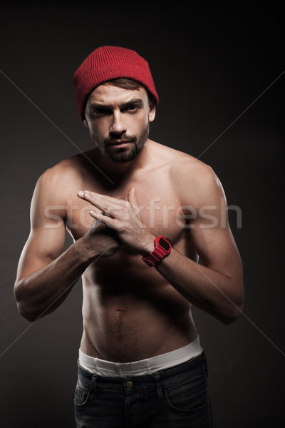 Young fit man in a menacing attitude Stock photo © stryjek