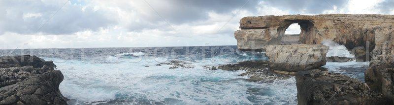 Azul janela famoso pedra arco ilha Foto stock © stryjek