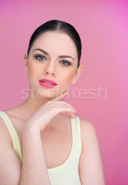美しい 若い女性 困惑して カメラ 見 ストックフォト © stryjek