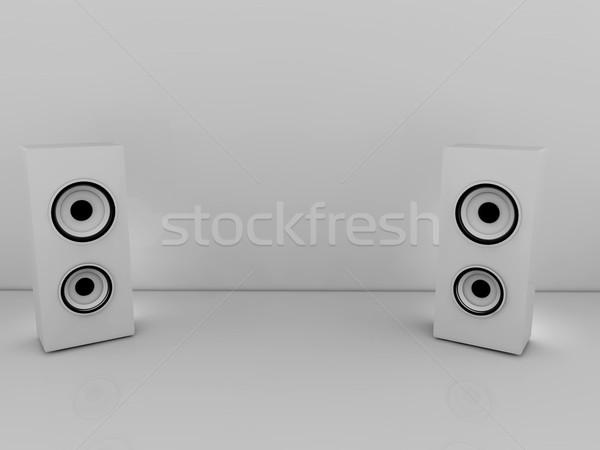 Branco alto-falantes 3D cinza cópia espaço computador Foto stock © stryjek