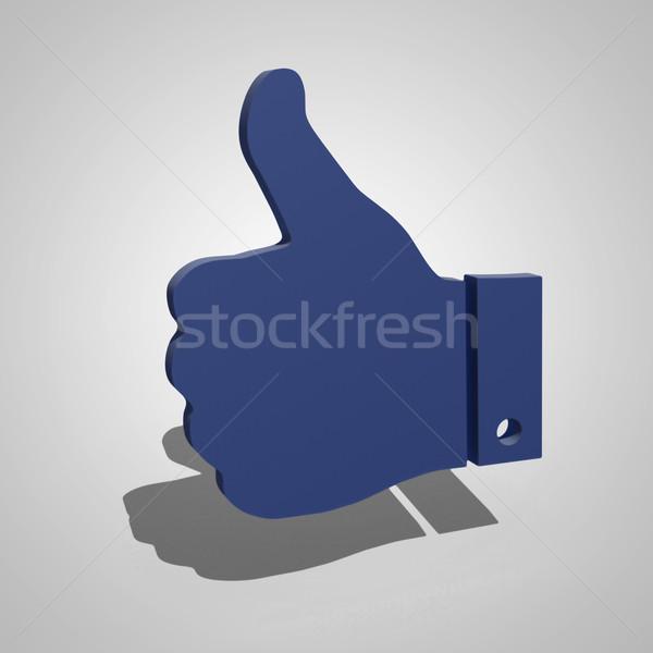 Stock fotó: Ahogy · szimbólum · 3D · szürke · kék · kéz