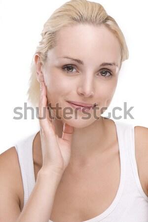 Foto d'archivio: Ritratto · bella · donna · trattamento · termale · donna · fiore · faccia
