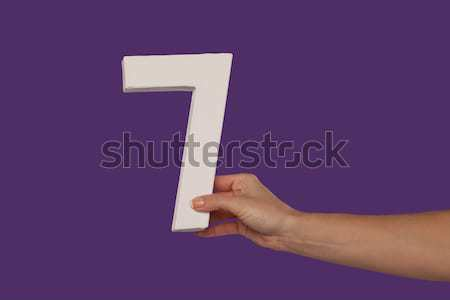 Female hand holding up the number 7 from the right Stock photo © stryjek