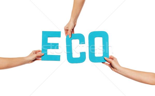 бирюзовый алфавит правописание Эко синий вверх Сток-фото © stryjek