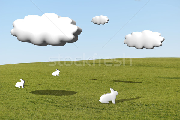 Three white rabbits on grass under cumulus clouds Stock photo © stryjek
