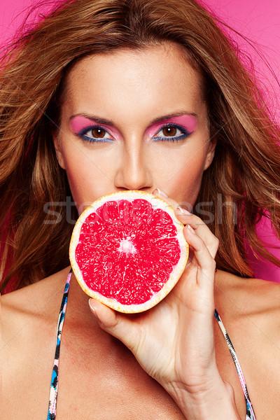Foto stock: Bikini · fiesta · retrato · bastante · mujer · pomelo