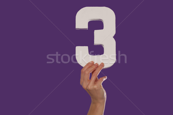 Female hand holding up the number 3 from the bottom Stock photo © stryjek