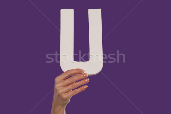 Female hand holding up the letter U from the bottom Stock photo © stryjek