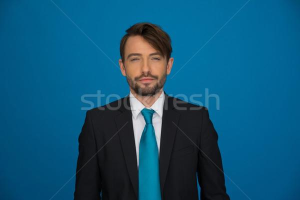 Knap bebaarde jonge zakenman stijlvol pak Stockfoto © stryjek