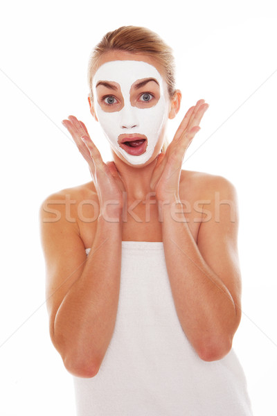 Woman in face mask with surprised expression Stock photo © stryjek