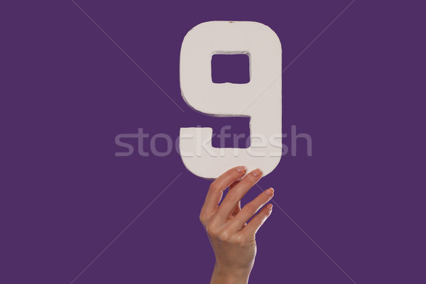 Female hand holding up the number 9   from the top Stock photo © stryjek