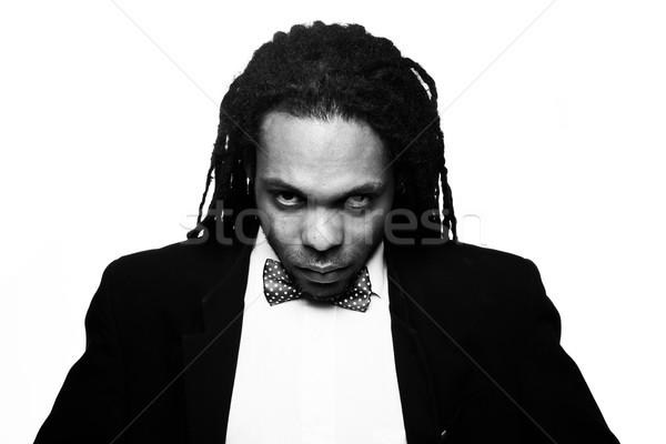 Zakenman pak man boeg zwart wit Stockfoto © stryjek