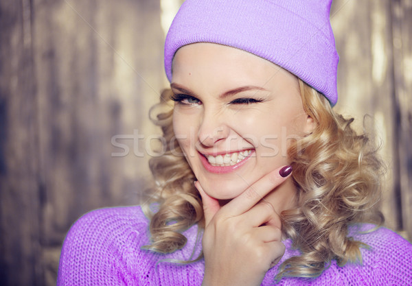 Gorgeous young woman flirting with the camera Stock photo © stryjek