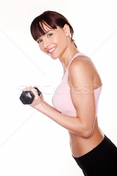 Woman Holding Dumbbell Stock photo © stryjek