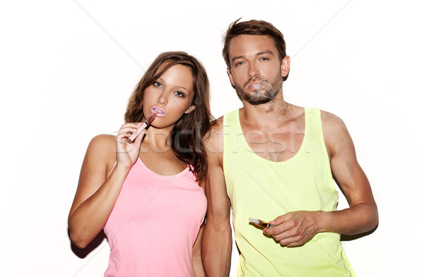 пару курение женщину дым женщины Сток-фото © stryjek