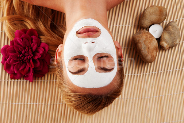 Relaxed woman with a face mask Stock photo © stryjek