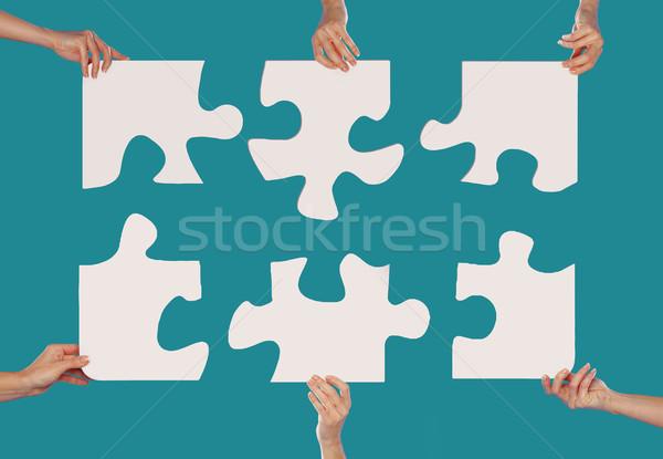 Mani puzzle donna business texture Foto d'archivio © stryjek
