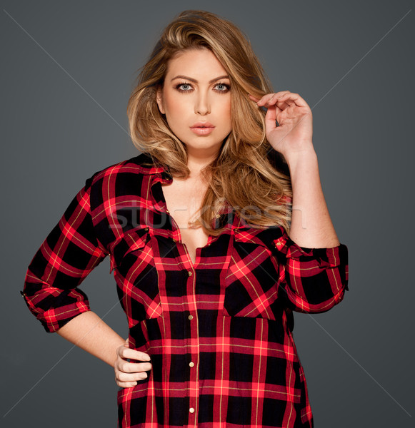 Stock photo: Gorgeous blond in a red checked shirt