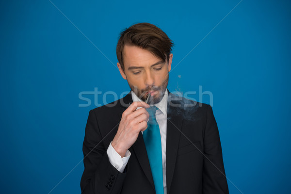бизнесмен костюм галстук синий красивый Сток-фото © stryjek
