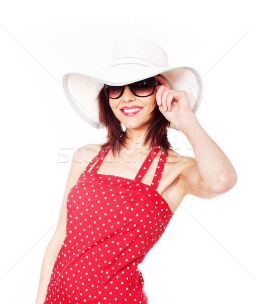 Привлекательная женщина Hat Солнцезащитные очки белый женщину улыбка Сток-фото © stryjek