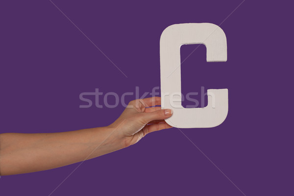 Female hand holding up the letter C from the left Stock photo © stryjek