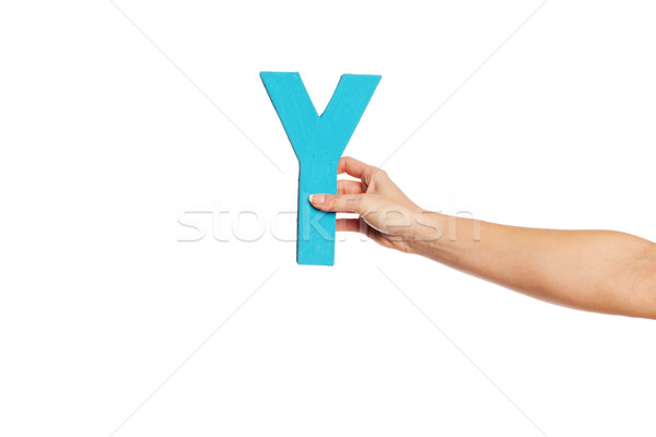 hand holding up the letter Y from the right Stock photo © stryjek