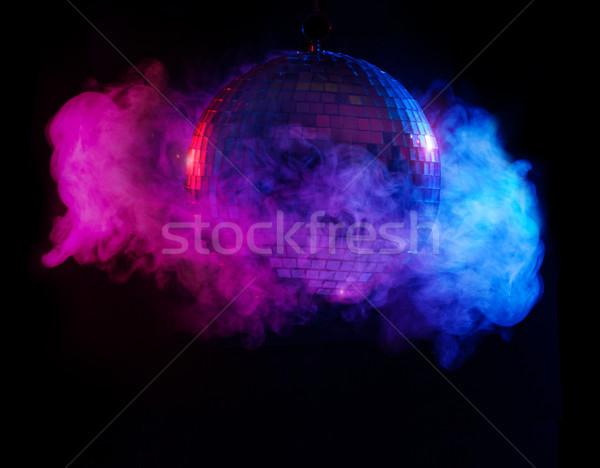 Partij lichten disco ball rook licht achtergrond Stockfoto © stryjek