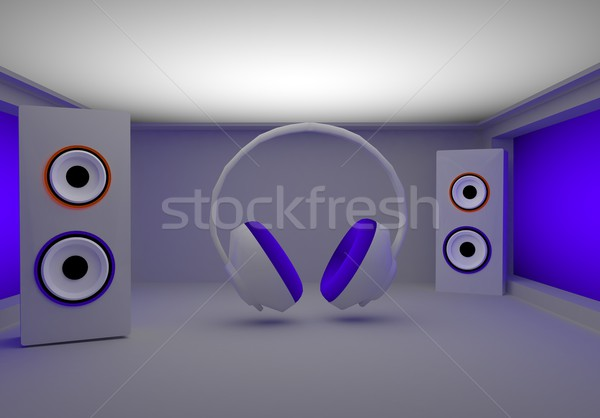 stylish headphones and speakers Stock photo © stryjek