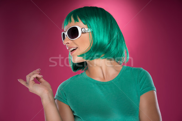 Beautiful trendy lady with green hair Stock photo © stryjek