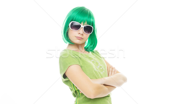 Girl with an attitude in a green wig Stock photo © stryjek