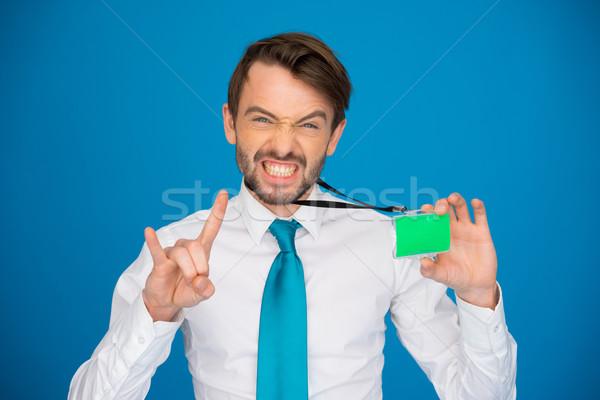 Businessman holding blank businesscard Stock photo © stryjek