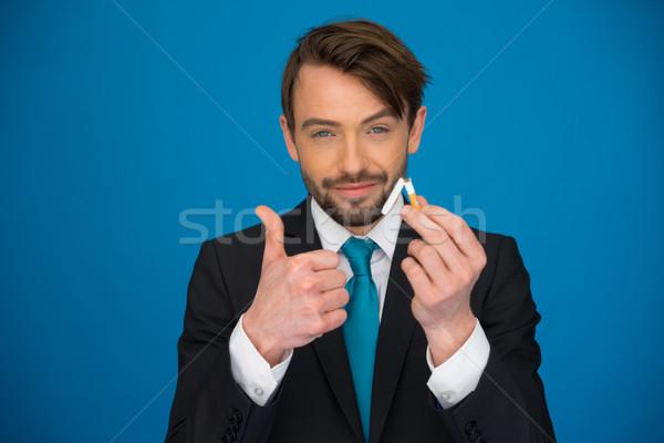 красивый бизнесмен сломанной сигарету другой Сток-фото © stryjek