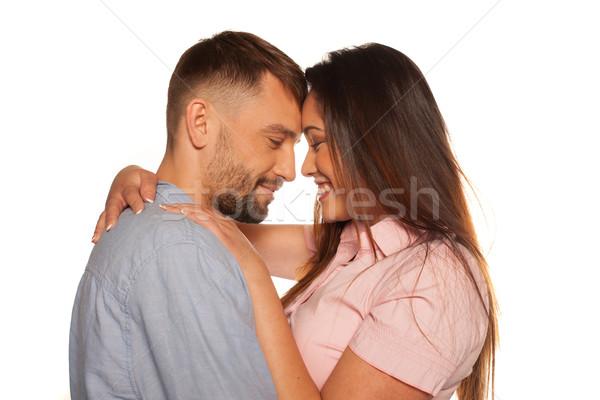 Stock fotó: Fiatal · romantikus · mosolyog · pár · átkarol · egyéb