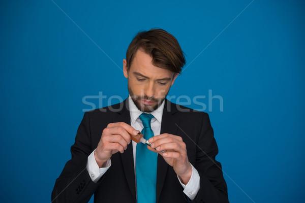 бизнесмен вверх человека безопасности мужчины электронных Сток-фото © stryjek