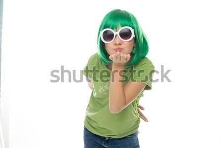 Romantikus fiatal lány zöld paróka napszemüveg fúj Stock fotó © stryjek