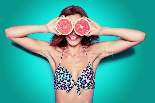 Bikini party ritratto bella donna pompelmo Foto d'archivio © stryjek