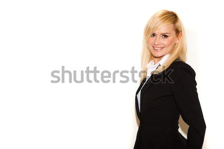 Stylish professionelle Frau blonde Frau smart schwarz Stock foto © stryjek