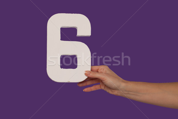 Female hand holding up the number 6 from the right Stock photo © stryjek