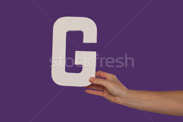 Female hand holding up the letter G from the right Stock photo © stryjek