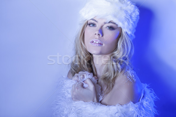 Seductive beautiful woman in winter blue Stock photo © stryjek