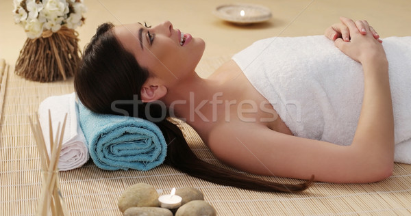 Long Hair Young Woman Lying Down in a Spa Stock photo © stryjek