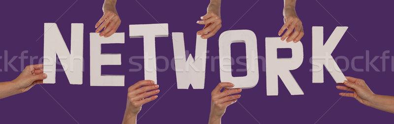 белый алфавит правописание сеть вверх Purple Сток-фото © stryjek