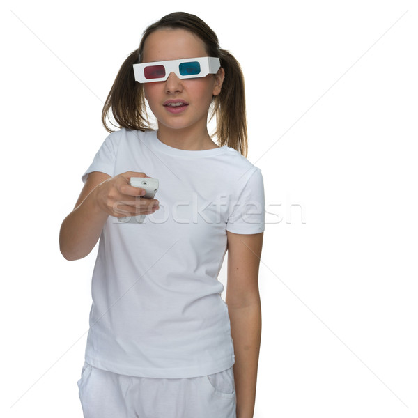 Young girl wearing 3d glasses Stock photo © stryjek