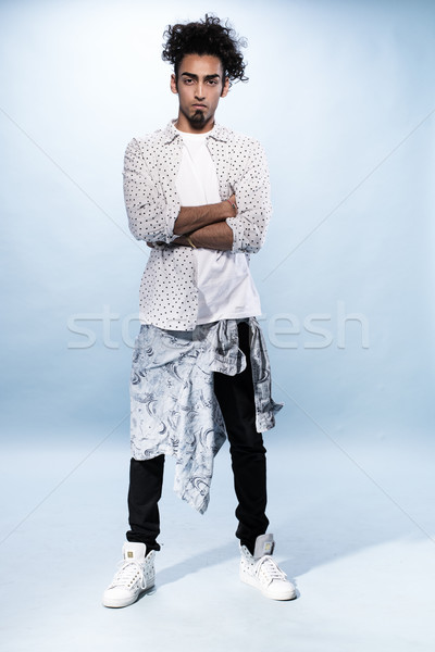 Stylish Young Hip Hop Male Dancer Against White Stock photo © stryjek