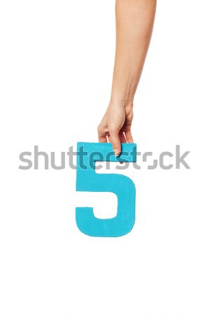 hand holding up the number five from the top Stock photo © stryjek